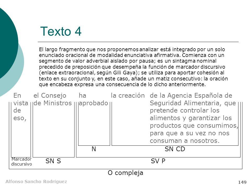 Alfonso Sancho Rodríguez 148 Texto 4 En vista de eso, el Consejo de Ministros ha aprobado la creación de la Agencia Española de Seguridad Alimentaria,