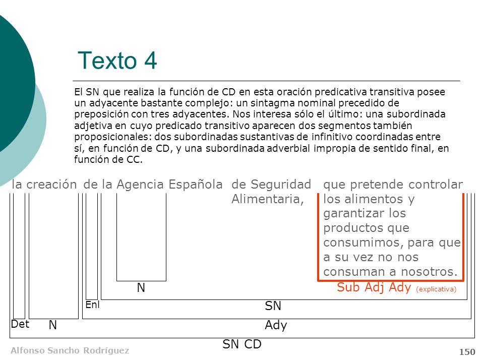 Alfonso Sancho Rodríguez 149 Texto 4 de la Agencia Española de Seguridad Alimentaria, que pretende controlar los alimentos y garantizar los productos