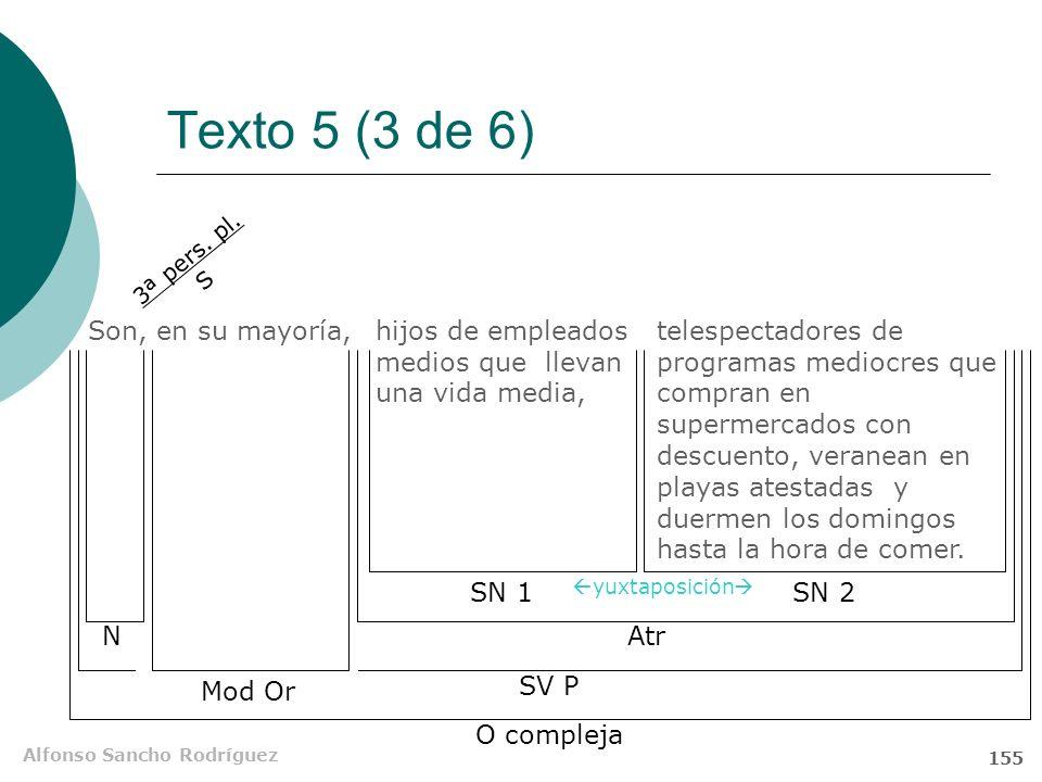 Alfonso Sancho Rodríguez 154 Texto 5 (2 de 6) Son, en su mayoría, hijos de empleados medios que llevan una vida media, telespectadores de programas me