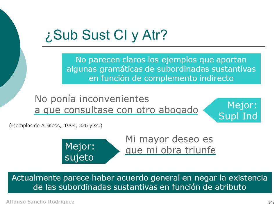 Alfonso Sancho Rodríguez 24 Sub Sust CAdv Son muy poco frecuentes los casos en los que una Sub Sust precedida de preposición desempeña la función de c