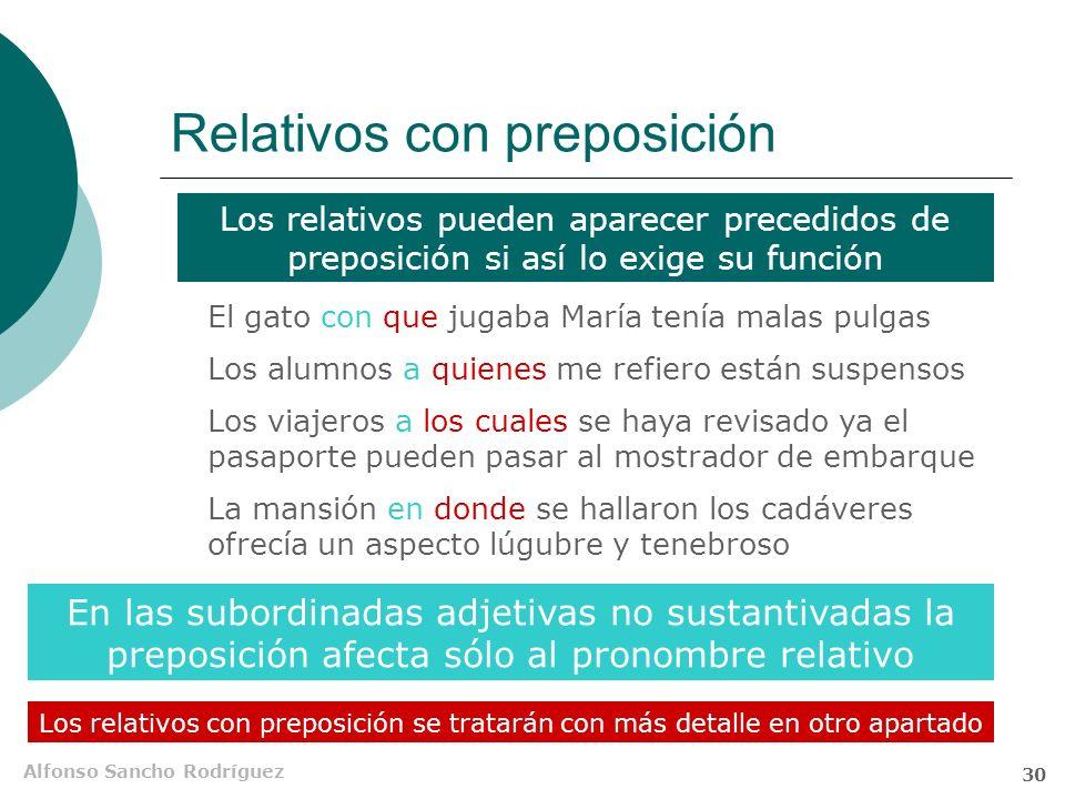 Alfonso Sancho Rodríguez 29 Inventario de pronombres relativos Pronombres relativos que el cual quien cuyo cuanto donde cuando como Sustantivos Adjeti