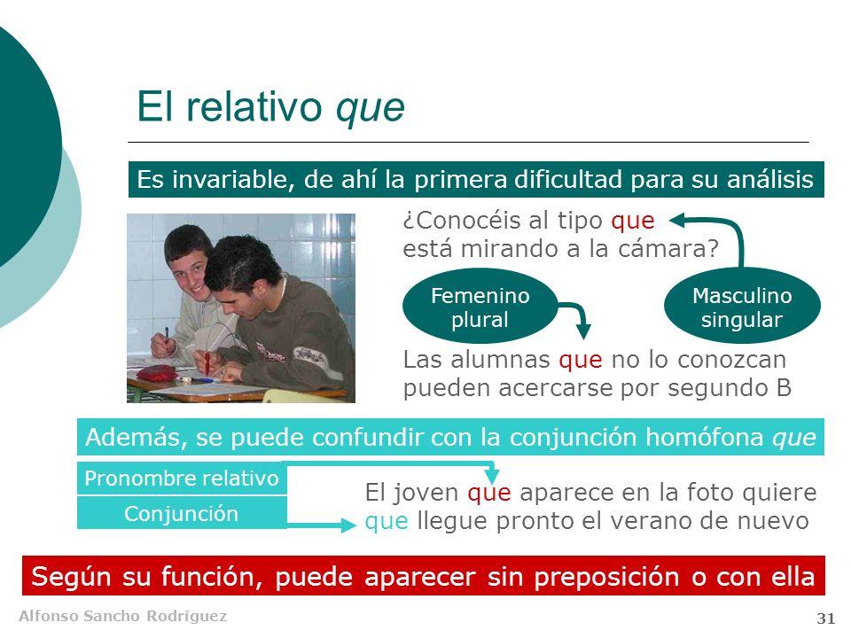Alfonso Sancho Rodríguez 30 Relativos con preposición Los relativos pueden aparecer precedidos de preposición si así lo exige su función En las subord