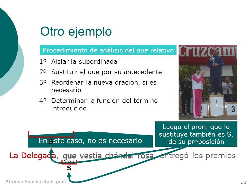 Alfonso Sancho Rodríguez 32 Función del que en la Sub Adj Aislar la subordinada Sustituir el que por su antecedente Determinar la función del término