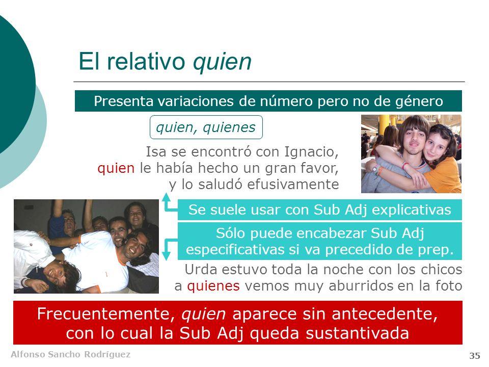 Alfonso Sancho Rodríguez 34 El relativo el que Cuando aparece con antecedente, la forma el que debe ser interpretada como un relativo complejo Entre l