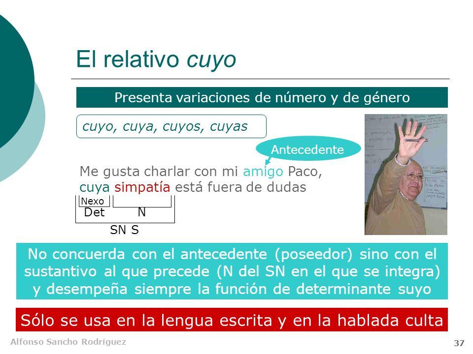 Alfonso Sancho Rodríguez 36 El relativo el cual Su uso retrocede; tiende a ser sustituido por el que. Suele utilizarse cuando otros relativos podrían