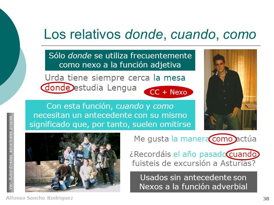 Alfonso Sancho Rodríguez 37 El relativo cuyo Sólo se usa en la lengua escrita y en la hablada culta No concuerda con el antecedente (poseedor) sino co