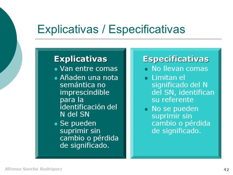 Alfonso Sancho Rodríguez 41 Explicativas / especificativas Los trabajadoresque saben inglésconsiguen empleo antes Si se elimina la subordinada, el sen