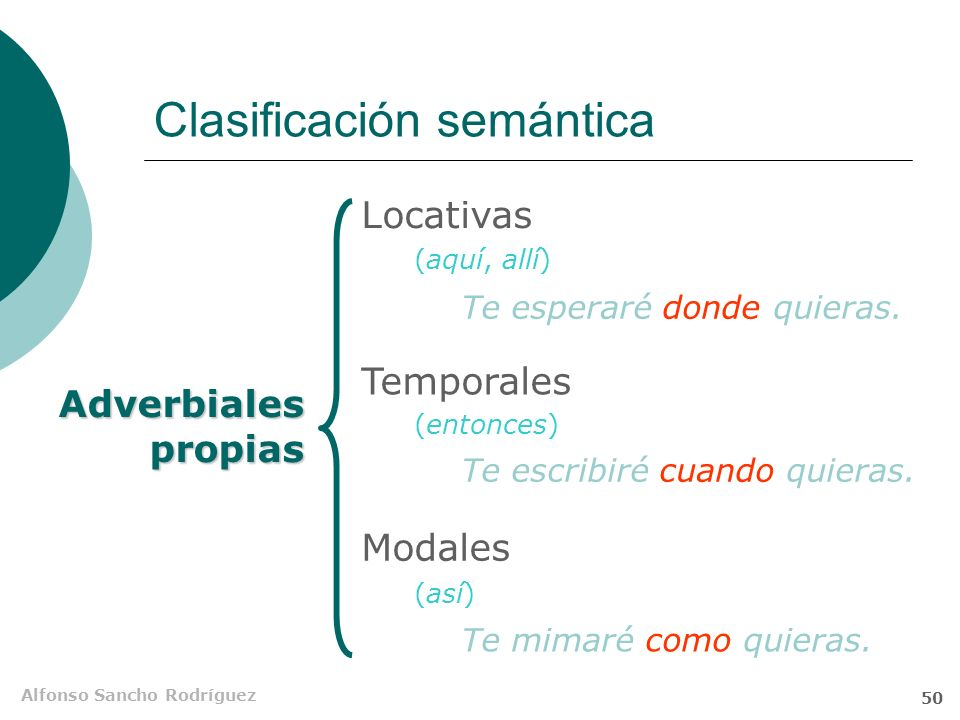 Alfonso Sancho Rodríguez 49 Adverbiales propias Se pueden sustituir por un adverbio y se integran en la estructura de la oración compleja con las func