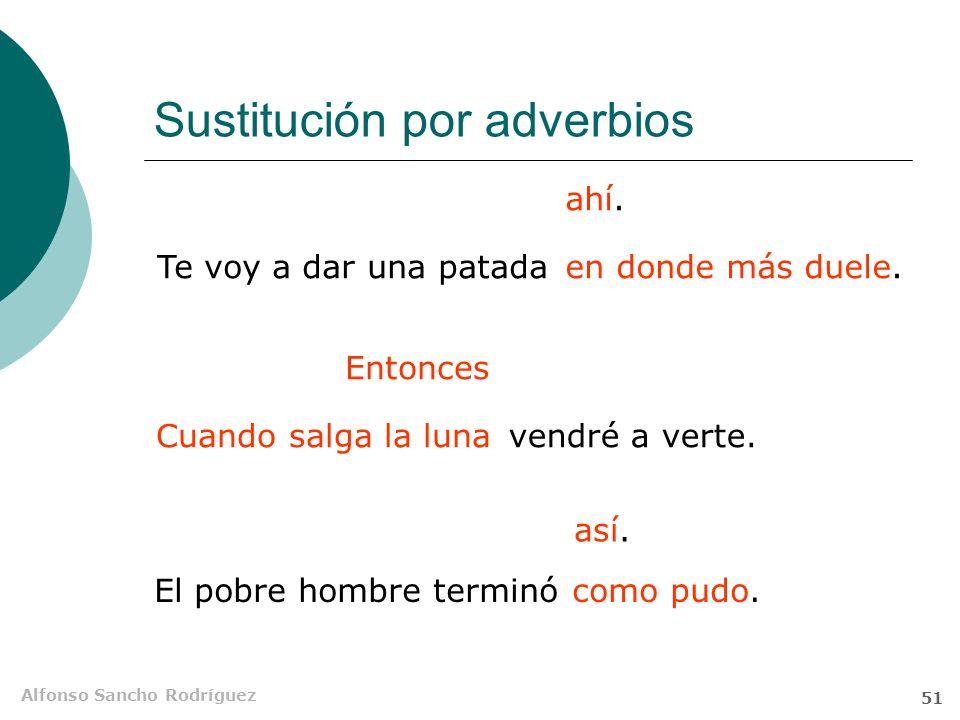 Alfonso Sancho Rodríguez 50 Clasificación semántica Adverbiales propias Locativas Temporales Modales (aquí, allí) (entonces) (así) Te esperaré donde q