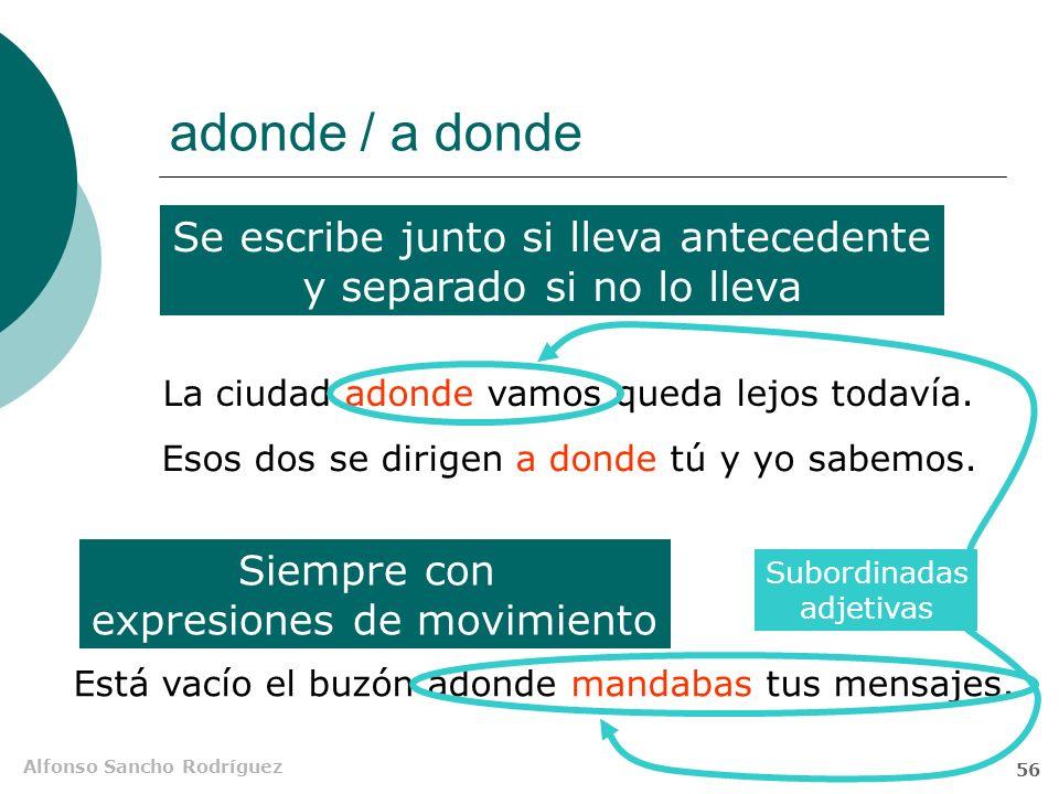 Alfonso Sancho Rodríguez 55 Locativas Amparo dormía donde la dejaban sus compañeras. donde la dejaban sus compañeras Nexo SV P SN S CD N Det N SN S O