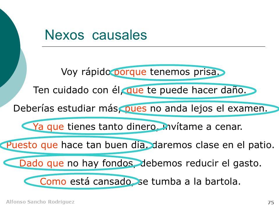 Alfonso Sancho Rodríguez 74 Orden de palabras Las subordinadas causales, especialmente las causales del enunciado, aparecen pospuestas Le estoy ayudan