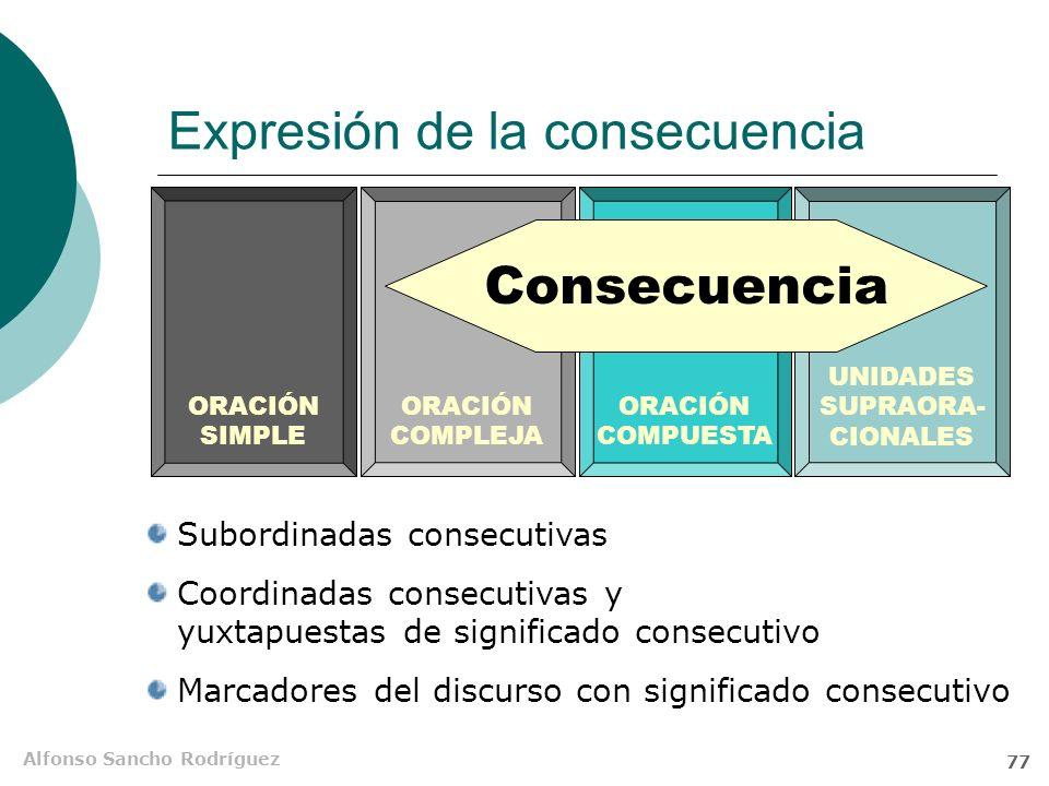 Alfonso Sancho Rodríguez 76 Construcciones consecutivas El significado consecutivo se puede expresar en la O compleja, en la O compuesta e, incluso, e