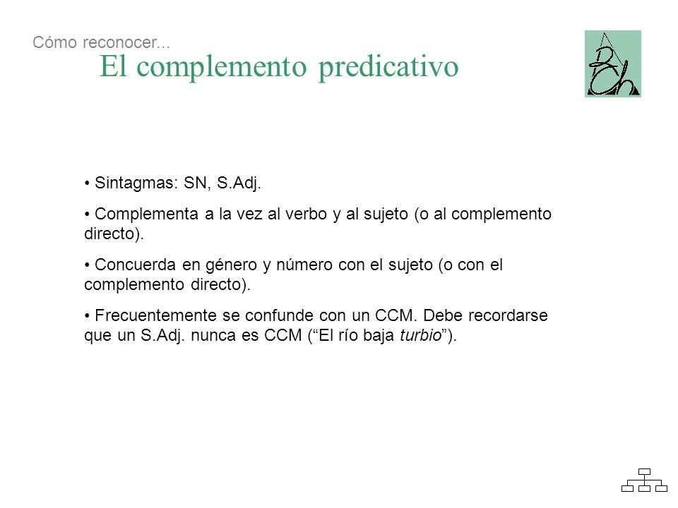 El complemento predicativo Cómo reconocer... Sintagmas: SN, S.Adj. Complementa a la vez al verbo y al sujeto (o al complemento directo). Concuerda en