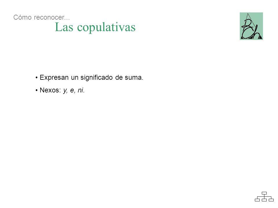 Las copulativas Expresan un significado de suma. Nexos: y, e, ni. Cómo reconocer...