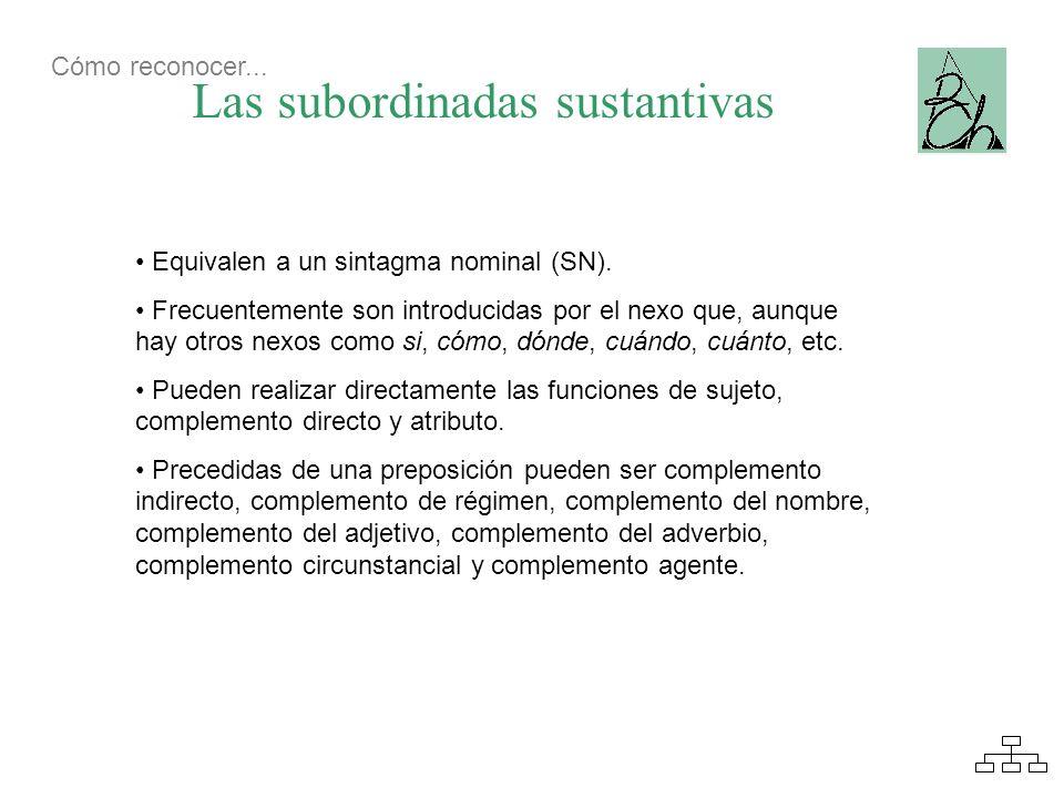 Las subordinadas sustantivas Equivalen a un sintagma nominal (SN). Frecuentemente son introducidas por el nexo que, aunque hay otros nexos como si, có