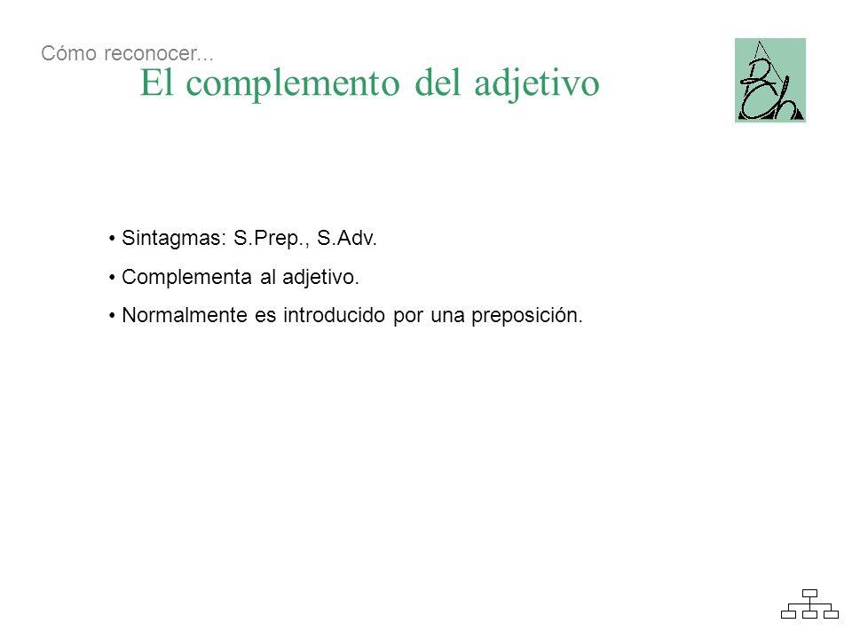 El complemento del adjetivo Sintagmas: S.Prep., S.Adv. Complementa al adjetivo. Normalmente es introducido por una preposición. Cómo reconocer...