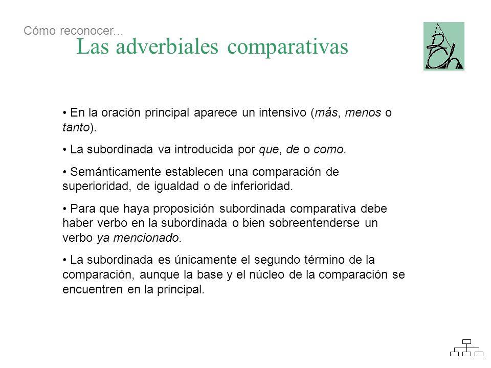 Las adverbiales comparativas En la oración principal aparece un intensivo (más, menos o tanto). La subordinada va introducida por que, de o como. Semá