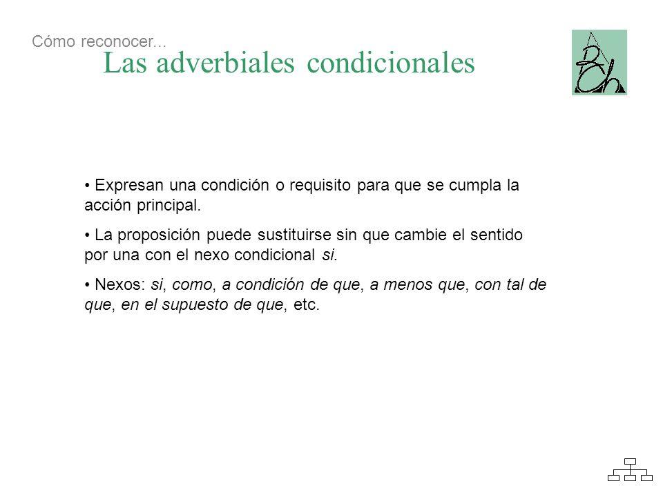 Las adverbiales condicionales Expresan una condición o requisito para que se cumpla la acción principal. La proposición puede sustituirse sin que camb