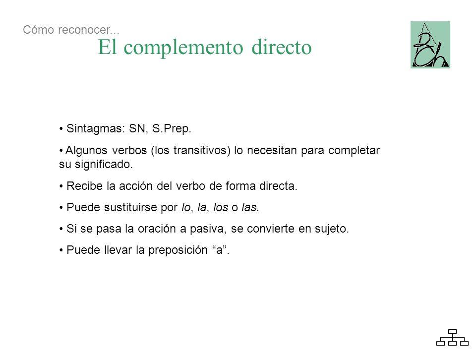 El complemento directo Sintagmas: SN, S.Prep. Algunos verbos (los transitivos) lo necesitan para completar su significado. Recibe la acción del verbo