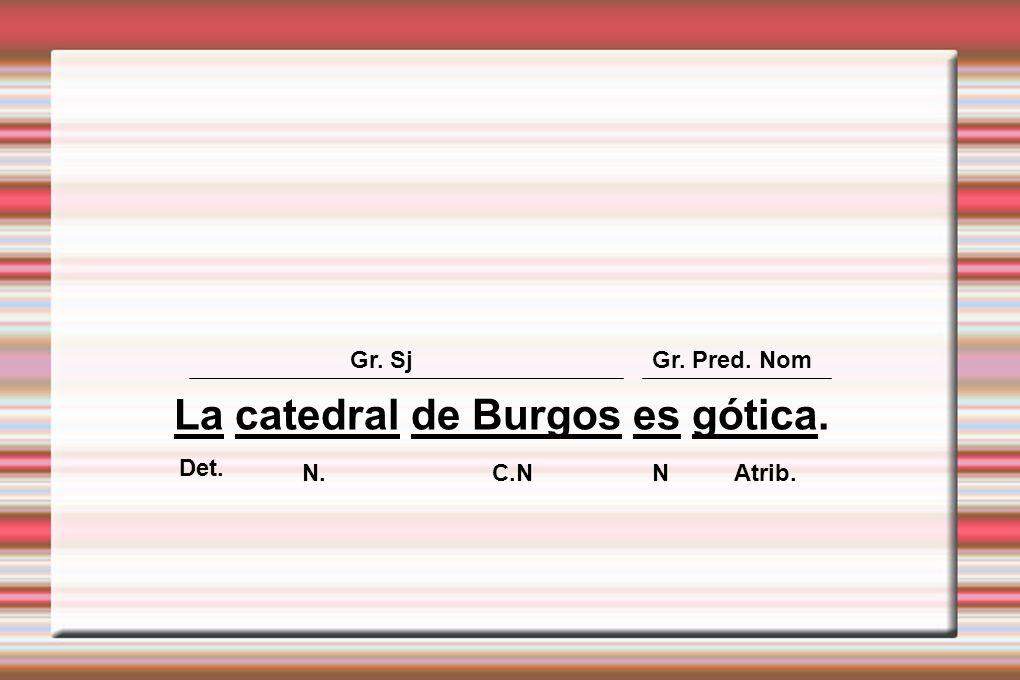 La catedral de Burgos es gótica. Gr. SjGr. Pred. Nom Det. N. C.NN Atrib.