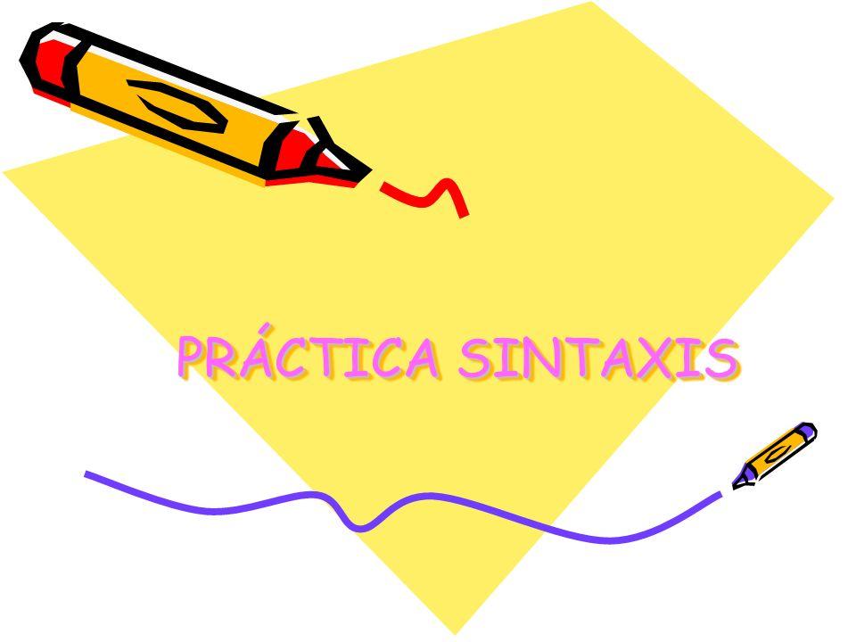 PRÁCTICA SINTAXIS PRÁCTICA SINTAXIS