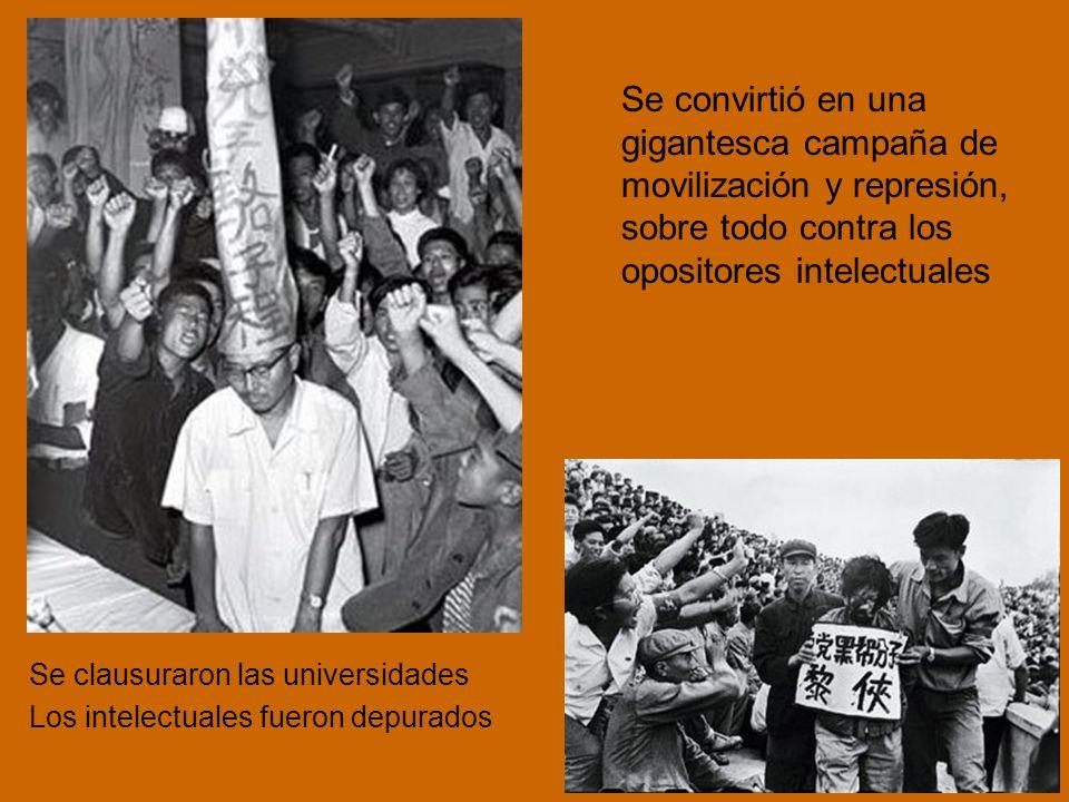 Se convirtió en una gigantesca campaña de movilización y represión, sobre todo contra los opositores intelectuales Se clausuraron las universidades Los intelectuales fueron depurados