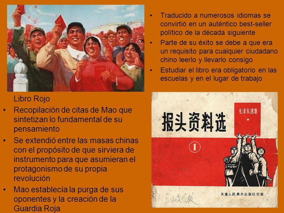 Libro Rojo Recopilación de citas de Mao que sintetizan lo fundamental de su pensamiento Se extendió entre las masas chinas con el propósito de que sirviera de instrumento para que asumieran el protagonismo de su propia revolución Mao establecía la purga de sus oponentes y la creación de la Guardia Roja Traducido a numerosos idiomas se convirtió en un auténtico best-seller político de la década siguiente Parte de su éxito se debe a que era un requisito para cualquier ciudadano chino leerlo y llevarlo consigo Estudiar el libro era obligatorio en las escuelas y en el lugar de trabajo