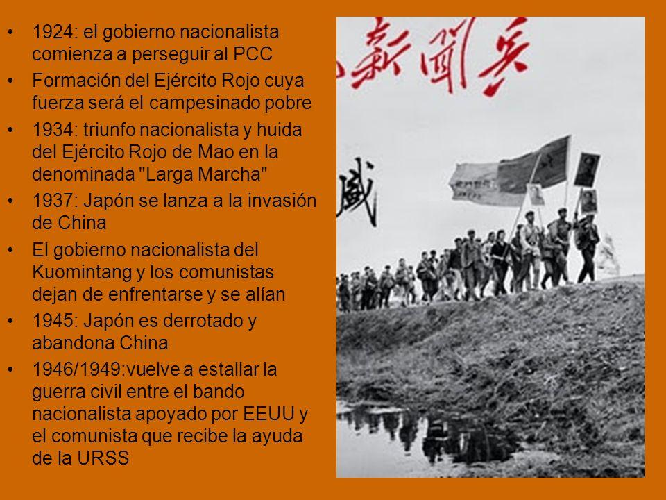 La larga Marcha 1934: desde las escarpadas montañas de la localidad de Yudu 86,000 hombres partieron de las bases comunistas en el sureste de China, hacia el noroeste Recorrieron entre 6.000 y 10,000 kilómetros en 370 días.