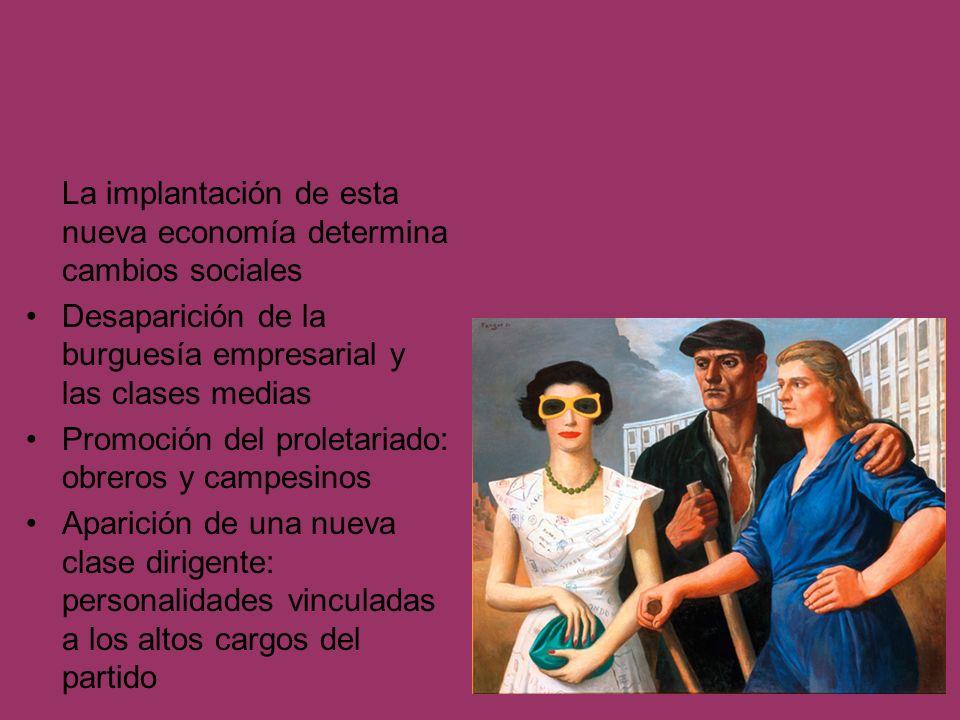 La implantación de esta nueva economía determina cambios sociales Desaparición de la burguesía empresarial y las clases medias Promoción del proletari