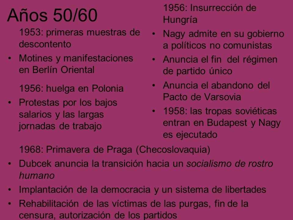 Años 50/60 1953: primeras muestras de descontento Motines y manifestaciones en Berlín Oriental 1956: Insurrección de Hungría Nagy admite en su gobiern