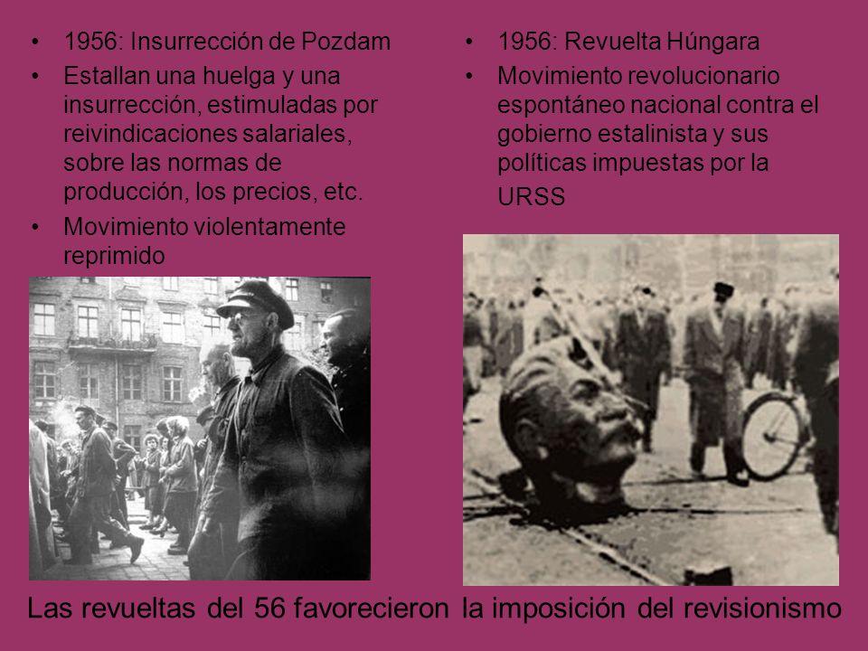 Las revueltas del 56 favorecieron la imposición del revisionismo 1956: Insurrección de Pozdam Estallan una huelga y una insurrección, estimuladas por