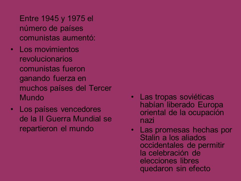 Entre 1945 y 1975 el número de países comunistas aumentó: Los movimientos revolucionarios comunistas fueron ganando fuerza en muchos países del Tercer