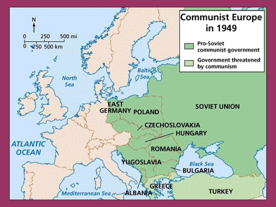 Instauración del modelo comunista II Guerra Mundial: el ejército soviético desaloja a los alemanes de todos los países del este (excepto Yugoslavia y Albania) Delimitación de Europa oriental: 1943: Acuerdo de Teherán, se tratan sobretodo temas estratégicos sobre la guerra (Stalin, Roosevelt y Churchill) 1945: en el Acuerdo de Yalta se aprobó la denominada Declaración sobre la Europa liberada en la que los Tres Grandes se comprometieron a que la reconstrucción de Europa se hiciera por medios democráticos 1945: Acuerdo de Postdam se trata de decidir cómo administrar Alemania y acordar el establecimiento de la orden post-guerra (asuntos relacionados con tratados de paz y el los efectos de la guerra) Afloraron de una manera evidente las divergencias ideológicas y las ambiciones nacionales irreconciliables que llevarían a corto plazo al fin de la Gran Alianza y al inicio de la guerra fría Quedan bajo la influencia geopolítica soviética Atlee, Truman y Stalin en Potsdam