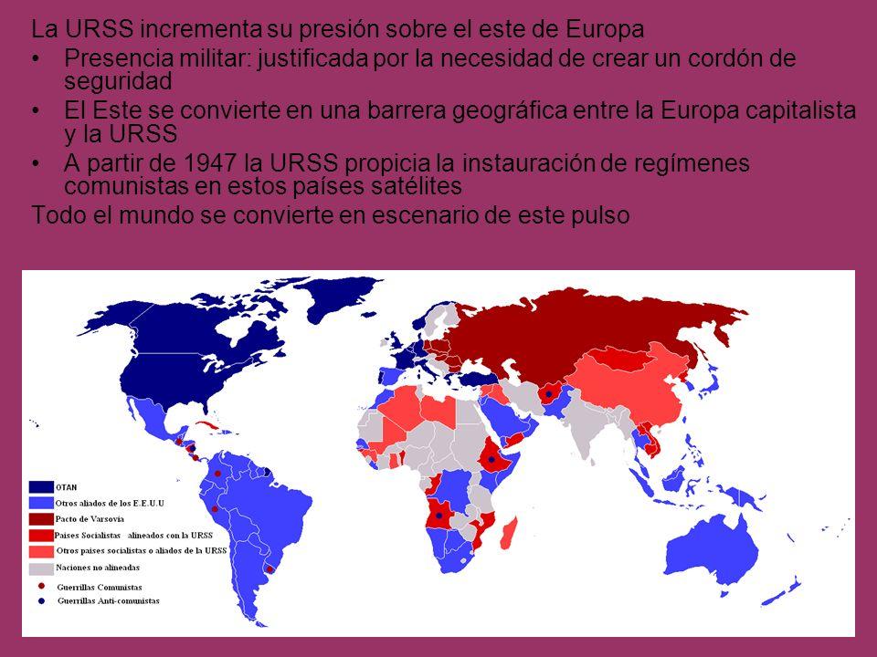 La OTAN Creada en 1950 como una estructura militar permanente Estados Unidos, Canadá, Reino Unido, Francia, Italia, Noruega, Dinamarca, Islandia, Bélgica, Países Bajos, Luxemburgo, Portugal, Turquía, Grecia, República Federal de Alemania y España El Pacto de Varsovia Acuerdo firmado en 1955: establece las bases de mutua defensa y cooperación entre los países del bloque soviético Albania, Bulgaria, Checoslovaquia, Alemania Oriental, Hungría, Polonia; Rumanía y la Unión Soviética