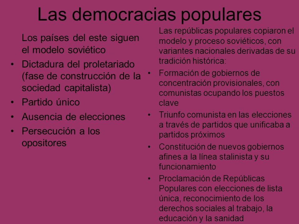 Las democracias populares Los países del este siguen el modelo soviético Dictadura del proletariado (fase de construcción de la sociedad capitalista)