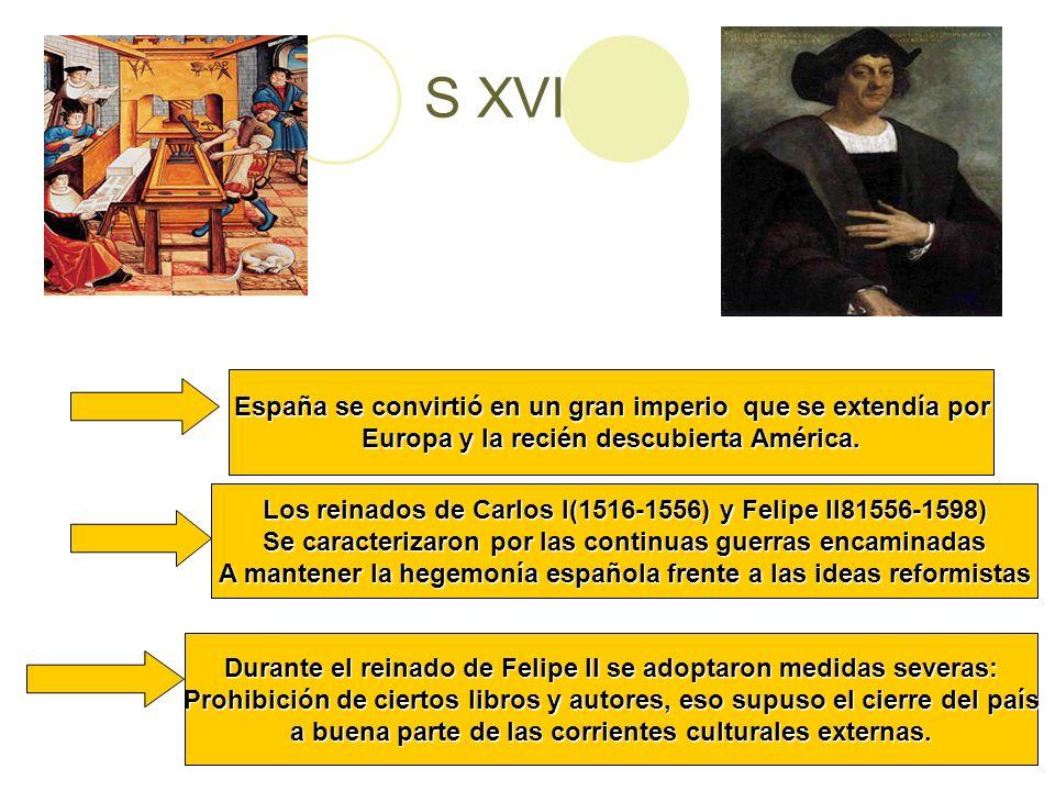 S XVI España se convirtió en un gran imperio que se extendía por Europa y la recién descubierta América. Los reinados de Carlos I(1516-1556) y Felipe
