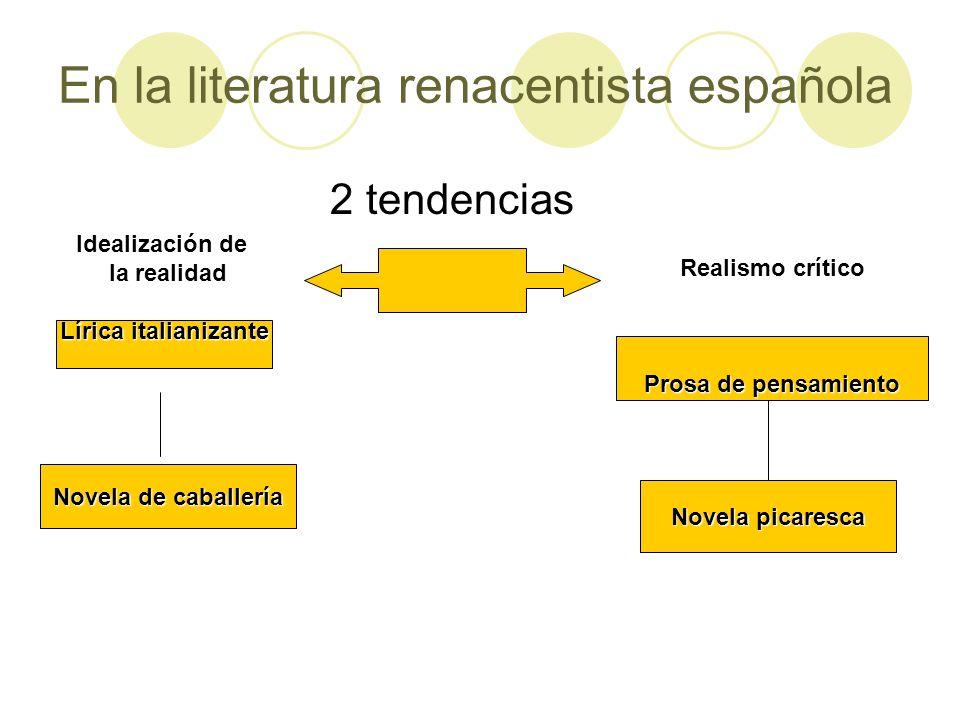 En la literatura renacentista española 2 tendencias Idealización de la realidad la realidad Lírica italianizante Novela de caballería Realismo crítico