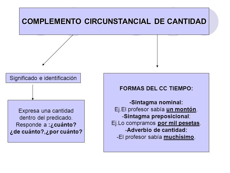 COMPLEMENTO CIRCUNSTANCIAL DE CANTIDAD Significado e identificación Expresa una cantidad dentro del predicado. Responde a :¿cuánto? ¿de cuánto?,¿por c
