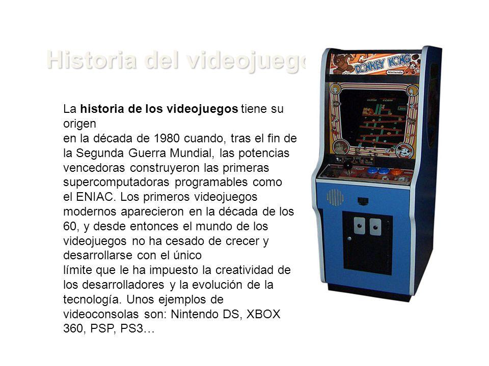 Historia del videojuego La historia de los videojuegos tiene su origen en la década de 1980 cuando, tras el fin de la Segunda Guerra Mundial, las pote