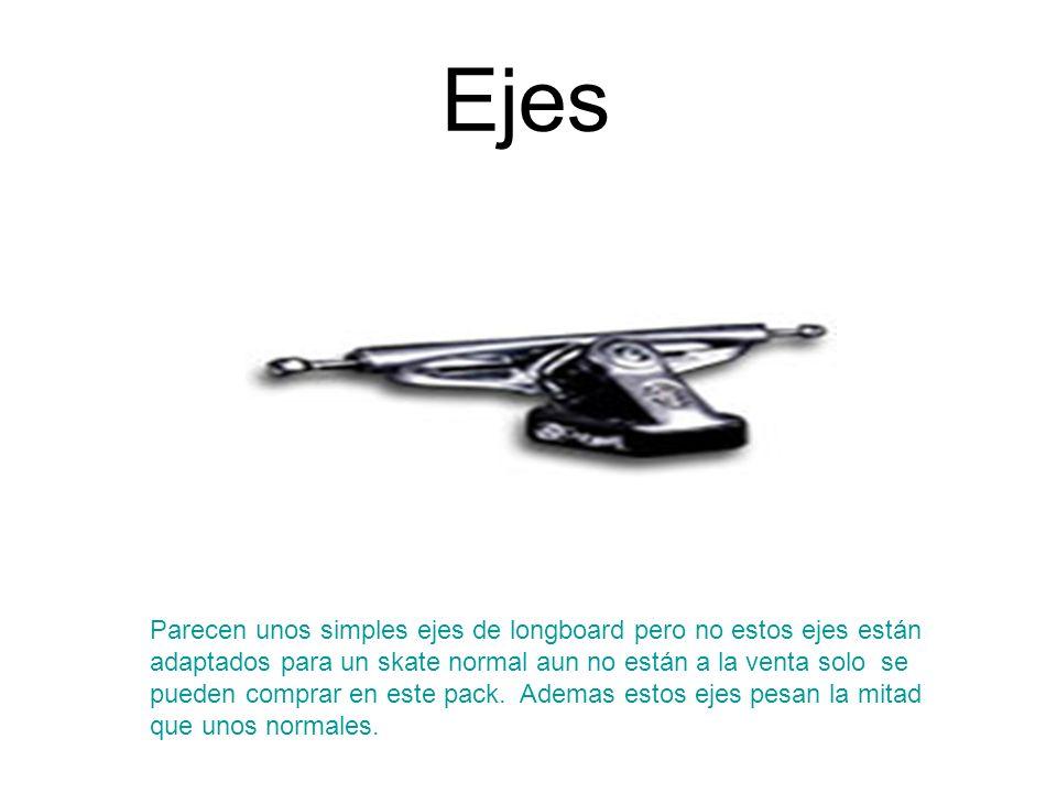 Ruedas Son ruedas de skate normales reforzadas con una placa de goma lacada que hace que el skate tenga más rapidez y giro