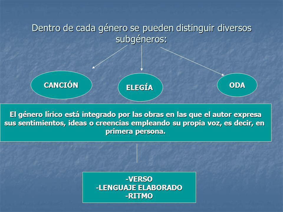 Dentro de cada género se pueden distinguir diversos subgéneros: El género lírico está integrado por las obras en las que el autor expresa sus sentimie