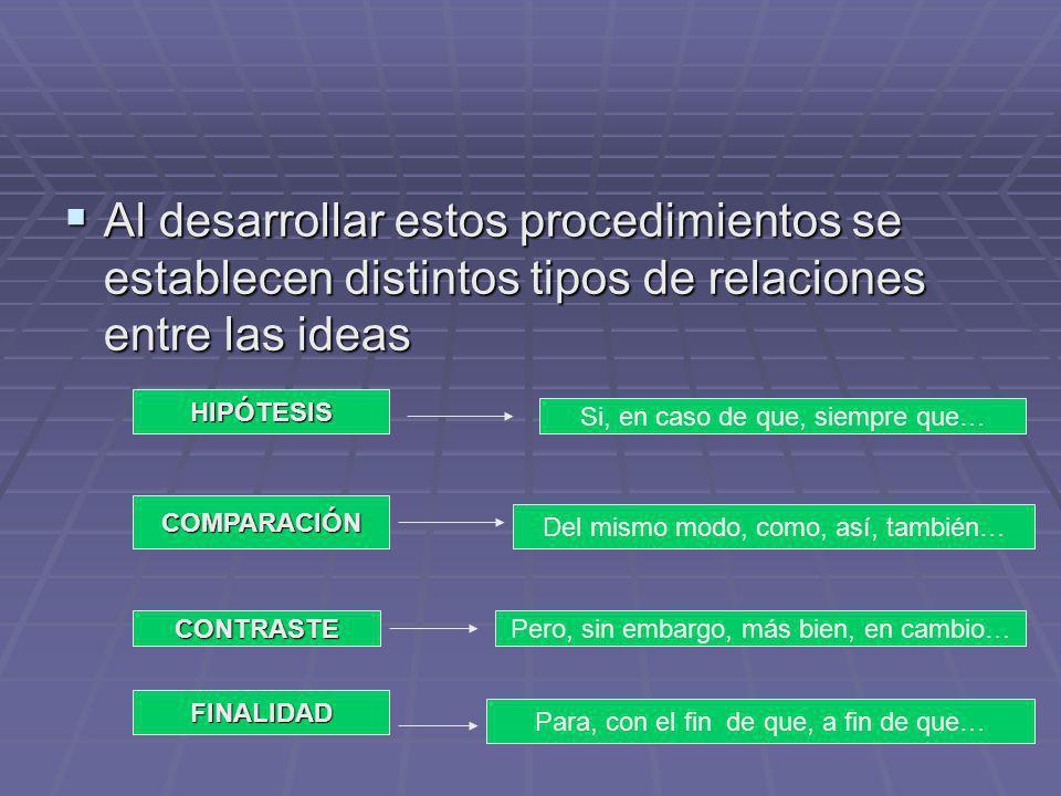 Al desarrollar estos procedimientos se establecen distintos tipos de relaciones entre las ideas Al desarrollar estos procedimientos se establecen dist