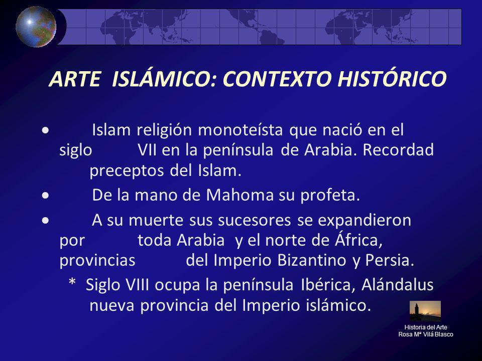 ARTE ISLÁMICO: CONTEXTO HISTÓRICO Islam religión monoteísta que nació en el siglo VII en la península de Arabia. Recordad preceptos del Islam. De la m