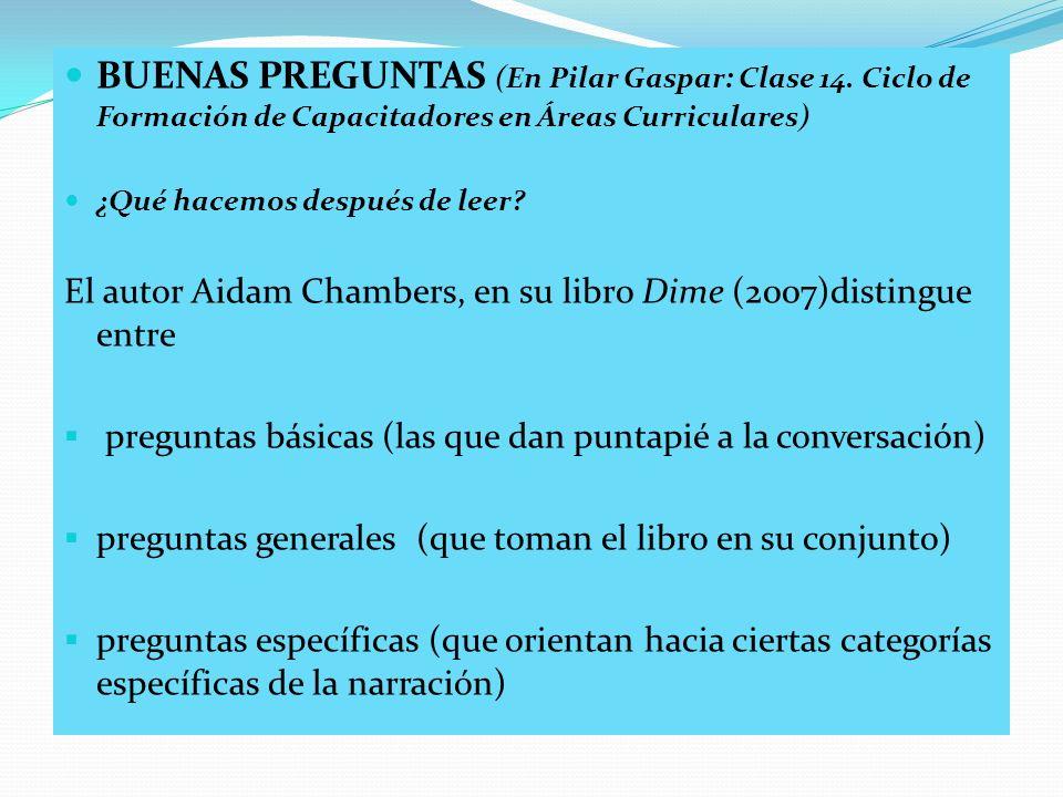 BUENAS PREGUNTAS (En Pilar Gaspar: Clase 14. Ciclo de Formación de Capacitadores en Áreas Curriculares) ¿Qué hacemos después de leer? El autor Aidam C