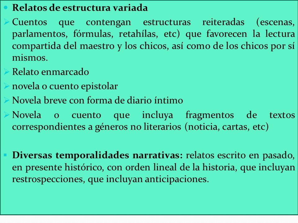 Relatos de estructura variada Cuentos que contengan estructuras reiteradas (escenas, parlamentos, fórmulas, retahílas, etc) que favorecen la lectura c