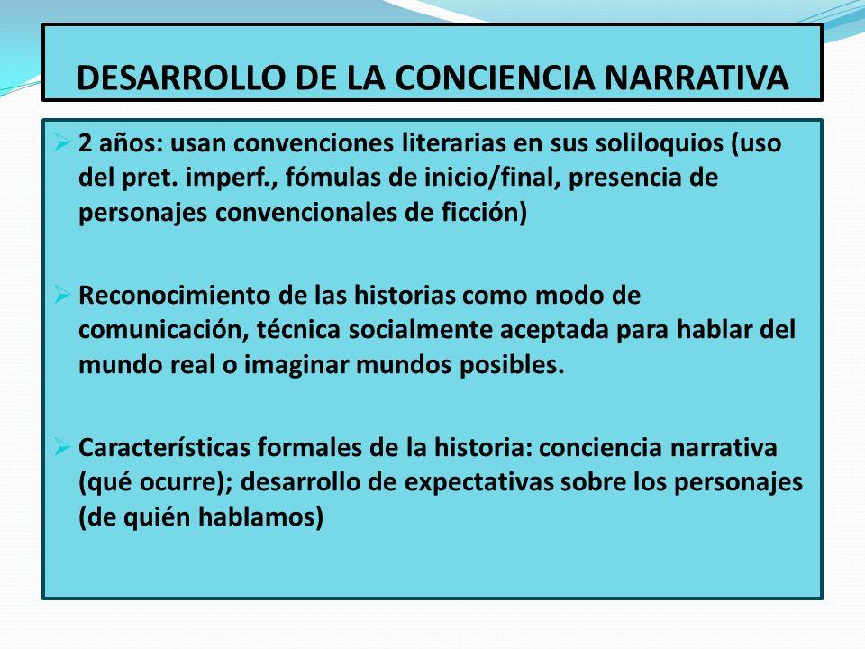 DESARROLLO DE LA CONCIENCIA NARRATIVA 2 años: usan convenciones literarias en sus soliloquios (uso del pret. imperf., fómulas de inicio/final, presenc