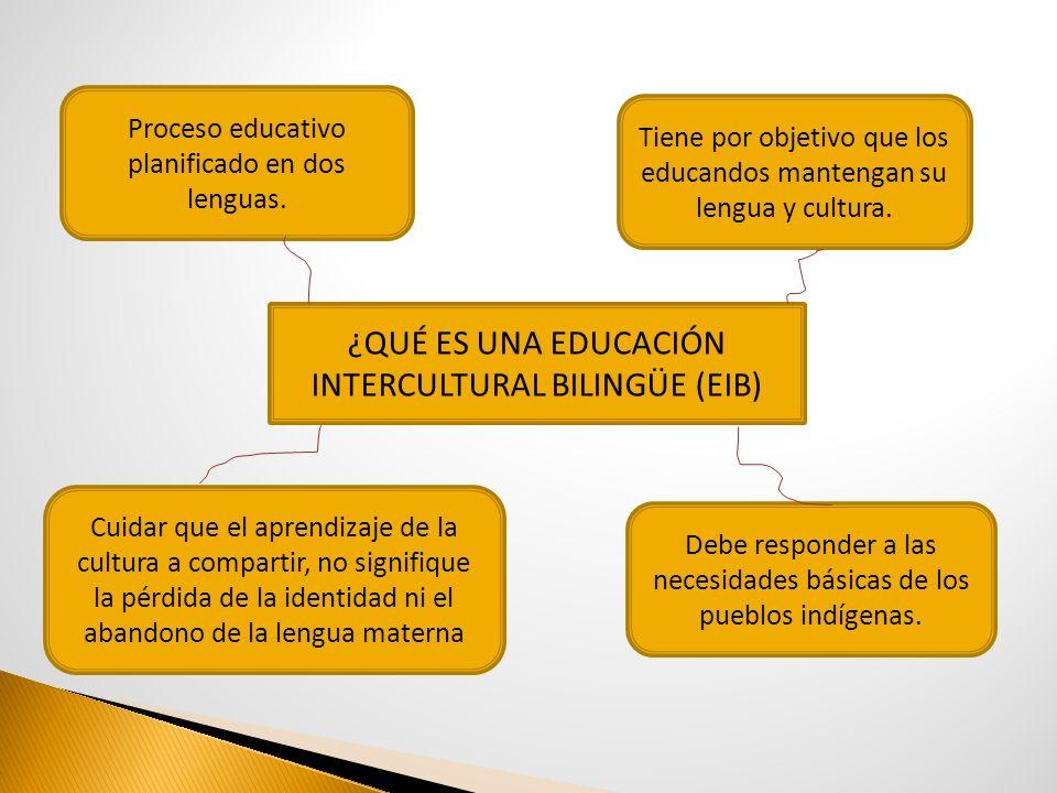 ¿QUÉ ES UNA EDUCACIÓN INTERCULTURAL BILINGÜE (EIB) Proceso educativo planificado en dos lenguas. Cuidar que el aprendizaje de la cultura a compartir,
