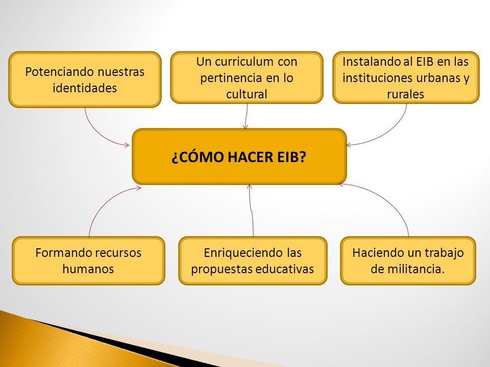 ¿CÓMO HACER EIB? Potenciando nuestras identidades Instalando al EIB en las instituciones urbanas y rurales Formando recursos humanos Un curriculum con