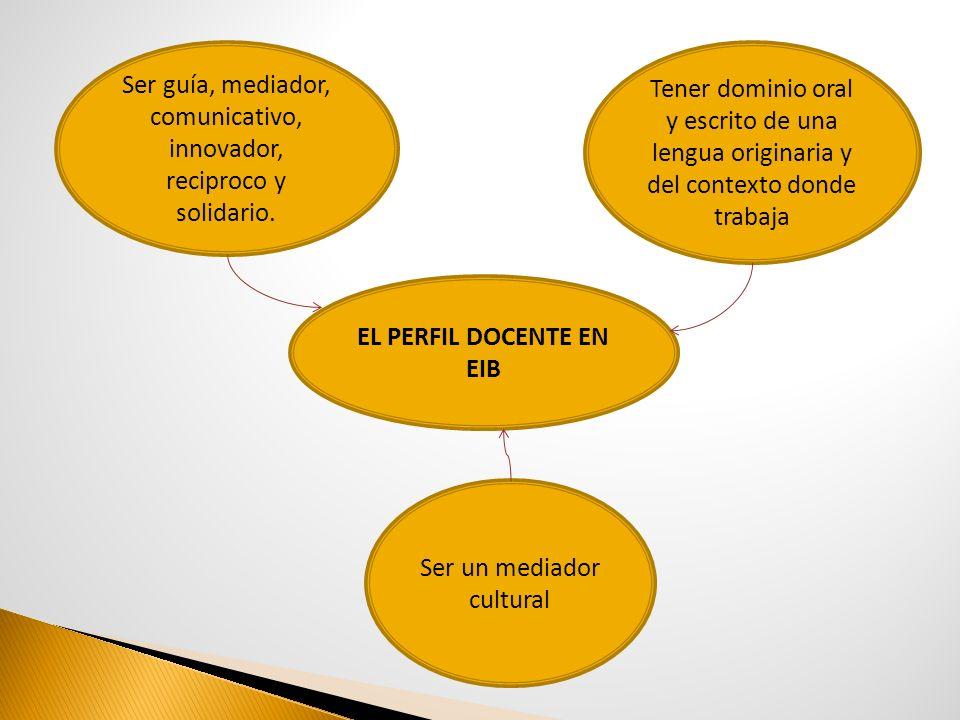 EL PERFIL DOCENTE EN EIB Ser guía, mediador, comunicativo, innovador, reciproco y solidario. Ser un mediador cultural Tener dominio oral y escrito de