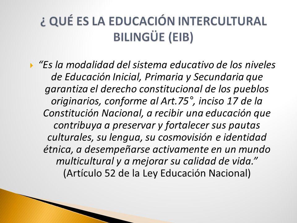 Es la modalidad del sistema educativo de los niveles de Educación Inicial, Primaria y Secundaria que garantiza el derecho constitucional de los pueblo